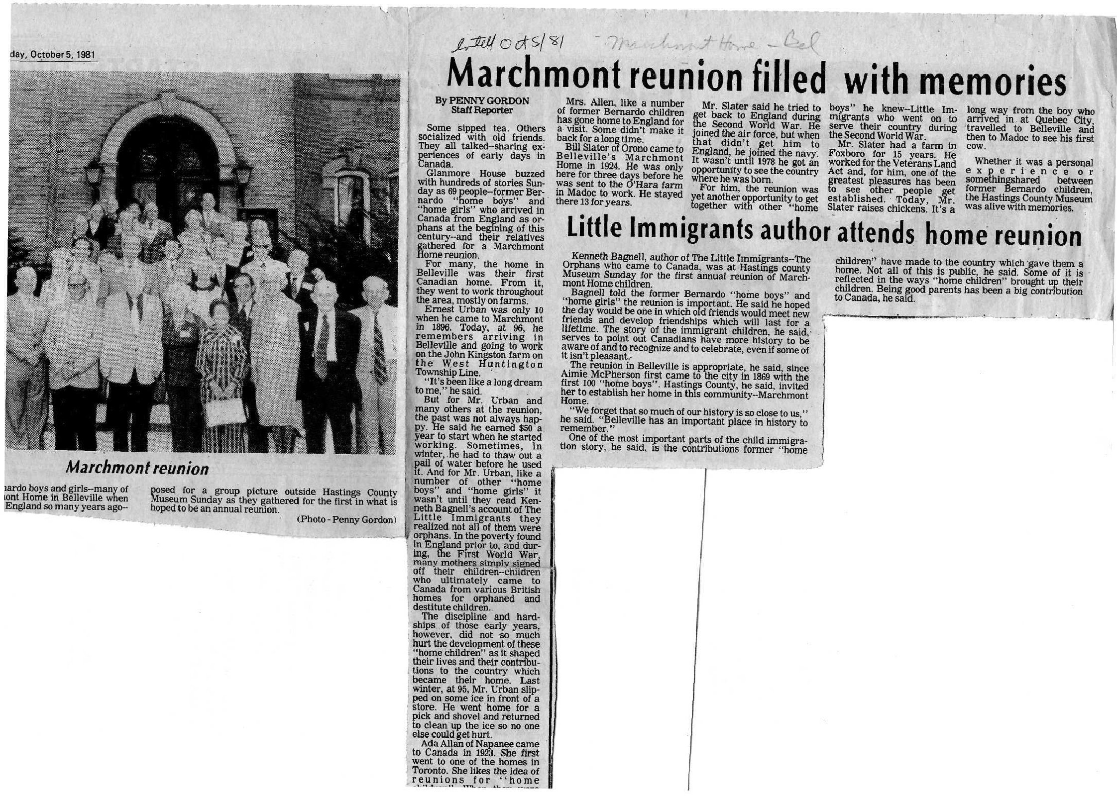 Marchmont reunion filled with memories - Little Immigrants author attends home reuntion
