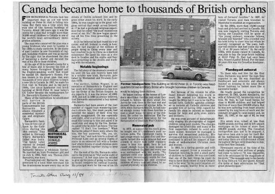 Canada became home to thousands of British orphans