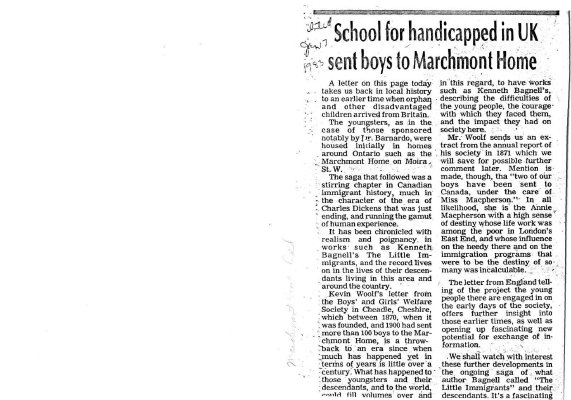 School for handicapped in UK sent boys to Marchmont Home