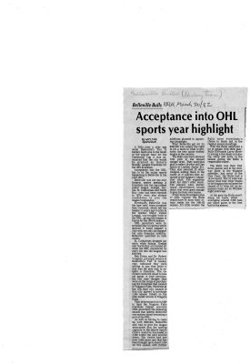 Acceptance into OHL Sports Year Highlight