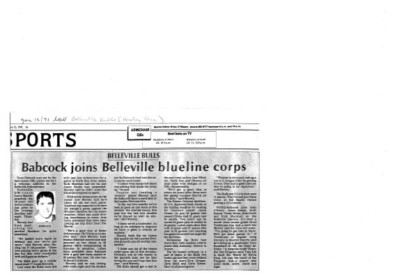 Babcock Joins Belleville Blueline Corps