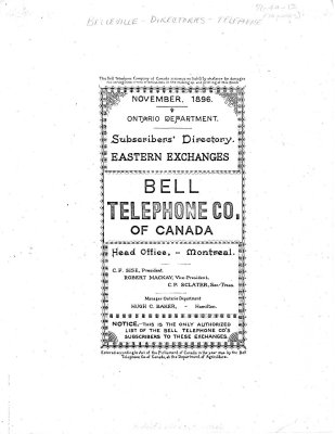 Bell Telephone Co. of Canada - 1896