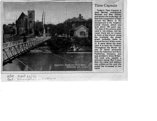 Time Capsule: Belleville footbridge and Christ Church