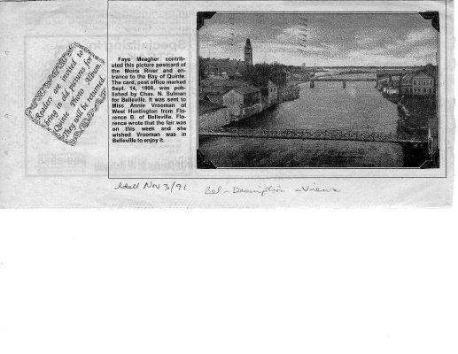 Postcard of the Moira River, Belleville, Ontario