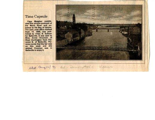 Time capsule: Moira River, Belleville 1908
