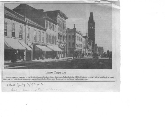 Time capsule: Front street Belleville 1920s