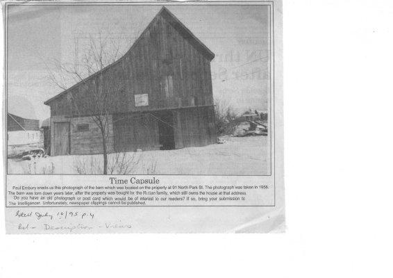 Time capsule: 91 North Park St. Belleville 1956 (barn)