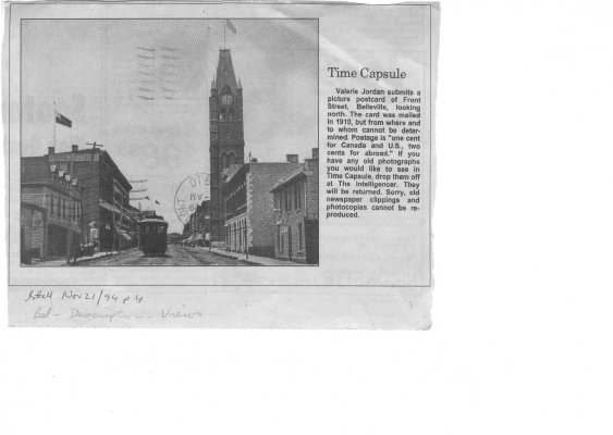 Time capsule: Front Street Belleville 1910 (postcard)