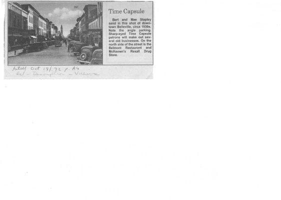 Time capsule: downtown Belleville c. 1930's