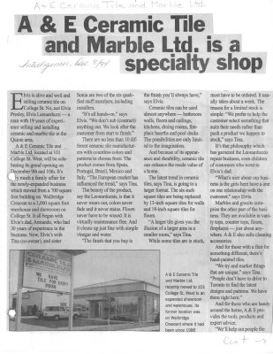 A & E Ceramic Tile and Marble Ltd. is a specialty shop
