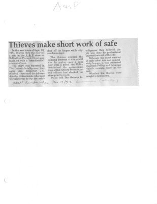 Remember when: Thieves make short work of safe : A & P