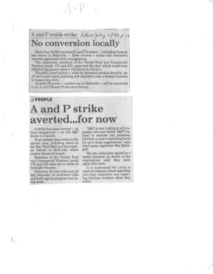 A and P avoids strike: No conversion locally