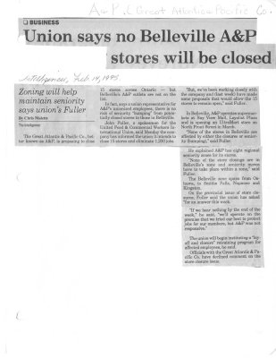 Union says no Belleville A & P stores will be closed