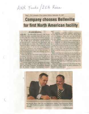Company chooses Belleville for first North American facility