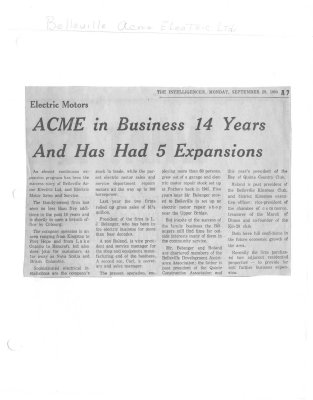 Electric motors: ACME in business 14 years and has had 5 expansions