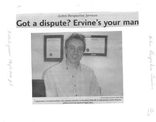 Active Perspective Services: Got a dispute?  Ervine's your man