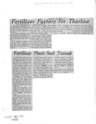 Fertilizer Factory for Thurlow: Agricultural Chemicals Ltd.