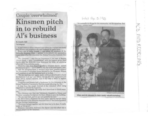 Couple overwhelmed: Kinsmen pitch in to rebuild Al's business - Al's Auto Recycling