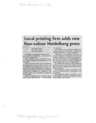 Local printing firm adds new four-colour Heidelberg press: Allan Graphics Ltd.