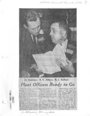 In Business: R.V. Aitken, J.J. Bolhuis.  Plant officers ready to go - Allied Chemical Canada Ltc.