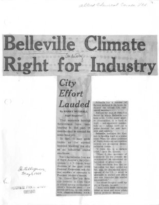Belleville climate right for industry: City effort lauded - Allied Chemical Canada Ltd.