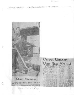Carpet cleaner uses new method: Allin's Mobile Carpet Cleaning