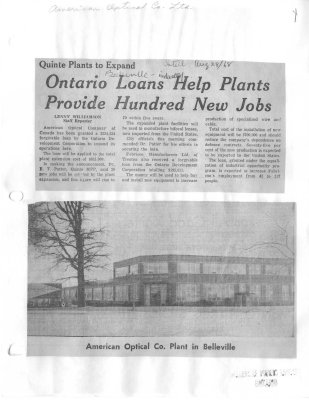 Quinte plants to expand: Ontario loans help plants provide hundred new jobs