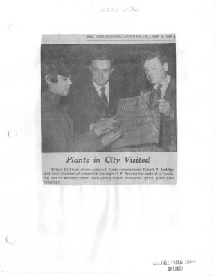 American Optical Company: Plants in City visited
