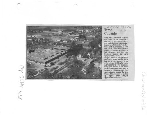 Time capsule: aerial view including American Optical Co. Plant