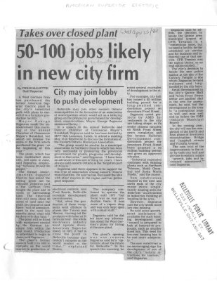 50 - 100 Jobs likely in new city firm: American Superior Electric