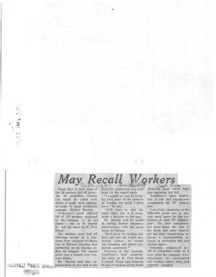 May recall workers: Amplifone of Canada Ltd.