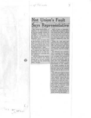 Not union's fault says representative: Amplifone of Canada Ltd