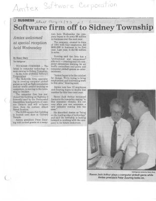 Software firm off to Sidney Township: Amtex