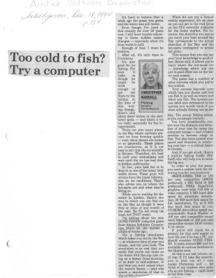 Too cold to fish? Try a computer: Amtex