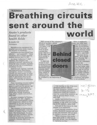 Breathing circuits sent around the world: Anetec Inc.
