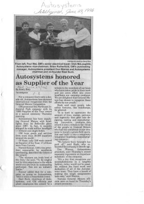 Autosystems honored as Supplier of the Year