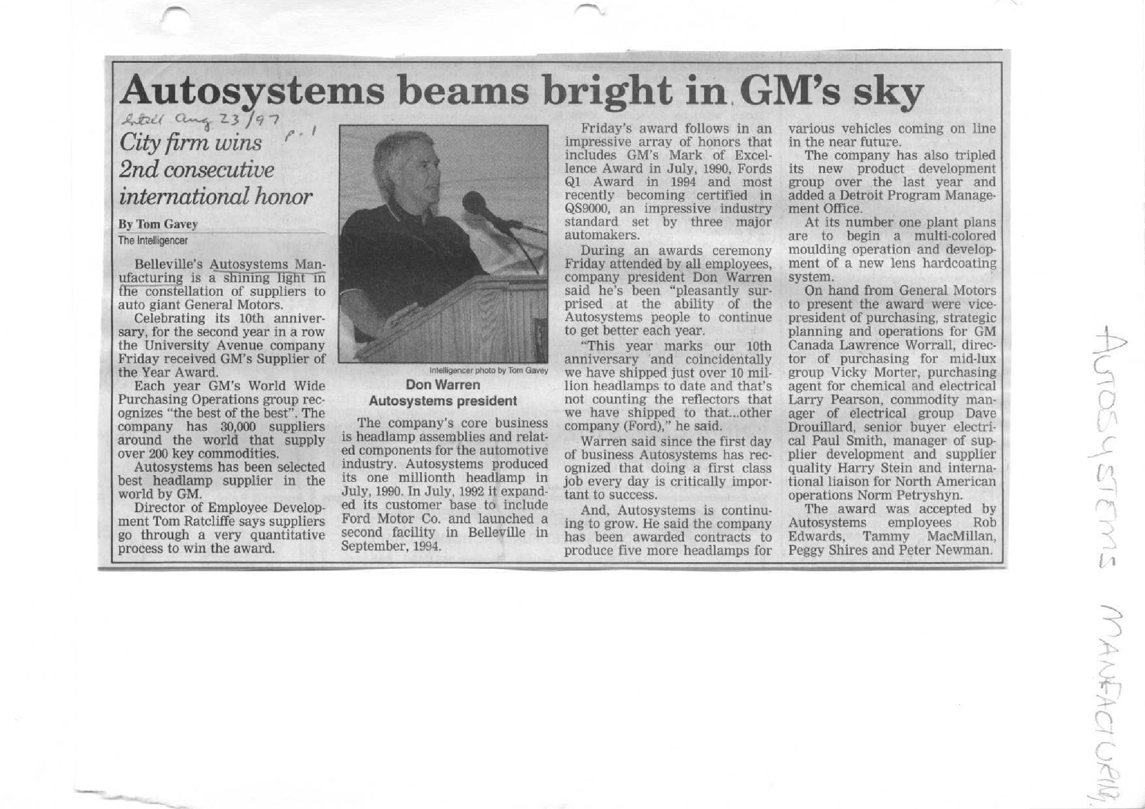 Autosystems beams bright in GM's sky