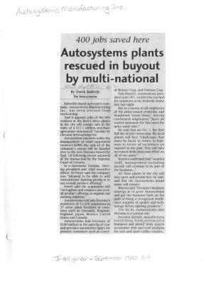 400 jobs saved here: Autosystems plants rescued in buyout by multi-national
