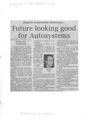 Despite automotive downturn...Future looking good for Autosystems