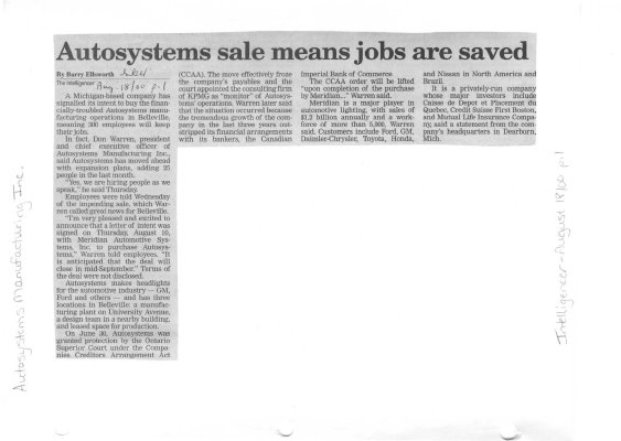 Autosystems sale means jobs are saved