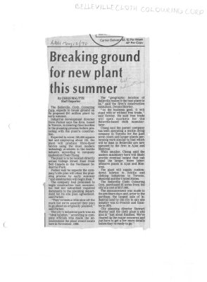 Breaking ground for new plant this summer: Belleville Cloth Colouring Corp.