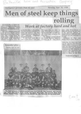 Remember When: Men of Steel keep things rolling: Belleville Iron and Horseshoe Company