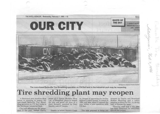 Tire Shredding Plant may reopen