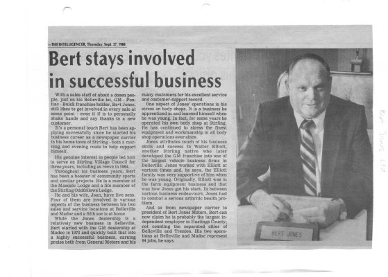 Bert stays involved in successful business: Bert Jones Automotive Ltd.