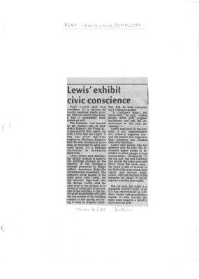 Bert Lewis & Son Jewellers: Lewis' exhibit civic conscience
