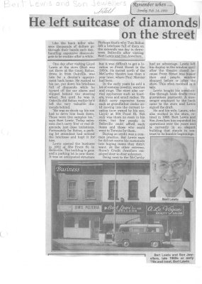Remember when: He left suitcase of diamonds on the street: Bert Lewis and Son Jewellers