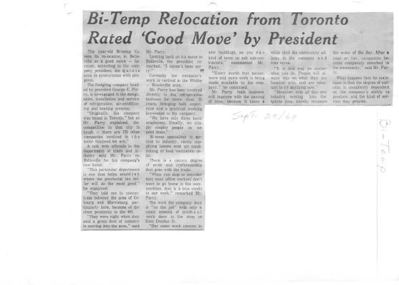 """Bi-Temp relocation from Toronto rated """"good move"""" by President"""