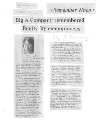 Remember when: Big A Company remembered fondly by ex-employees