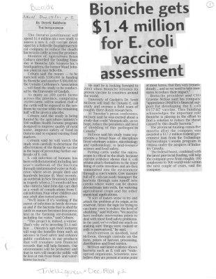 Bioniche gets $1.4 million for E.coli vaccine assessment