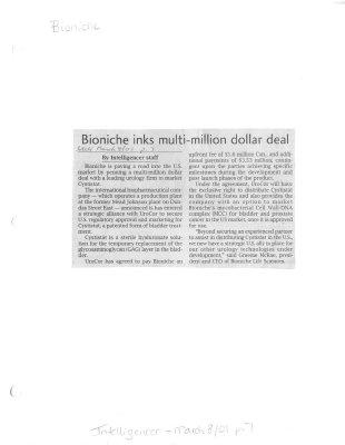 Bioniche inks multi-million dollar deal